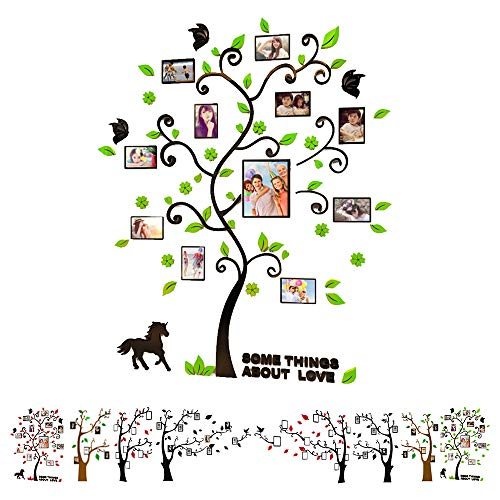 Family Tree Wall Decals 3D Acrylic DIY Photo Frame Wall Stickers Mural for Living Room Sofa TV Art Wall Background (Green)