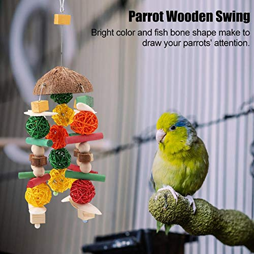 Bird Toys - Wooden Hanging Swing Toys Fish Bone Shape Chew Toy Parrot Bird Cage House - Rawhide Hanging Electronic Ladder Parrot Rings Games Pack Treats Toddlers Talking Parrots African Nest Ite by VT-ACCESSORIES