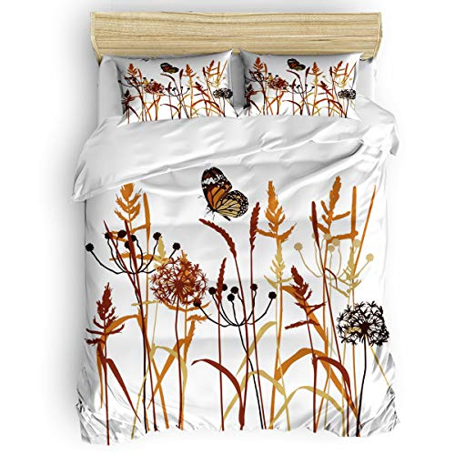 OUR WINGS Lightweight Soft Duvet Cover Set Full Dandelion Scented Leaf Monarch Butterfly Simple 4 Piece Bedding Set Duvet Quilt Cover Set Modern Luxury Bedding Comforter Cover Set
