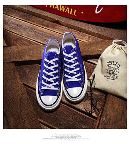 Honeystore Unisexs Schnürung Leinwand Schuhe Sneakers Turnschuhe Freizeitschuhe Flache Low-Cut Sneaker Übergrößen Denim Flandell R?tlich-Blau