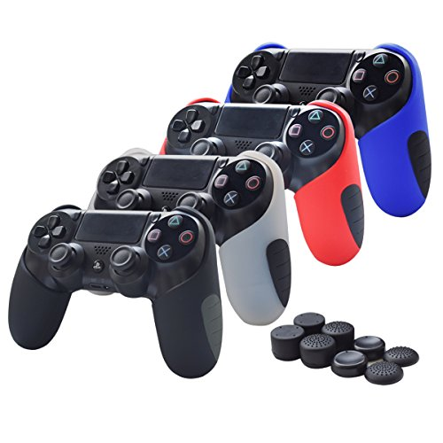 Skin Compatible for PS4 Controller Pandaren Soft Silicone Thicker Half Skin Cover Grip for PS4 /SLIM /PRO Controller (Skin X 4 + Thumb Grip X 8)(Black,White,Red,Blule)