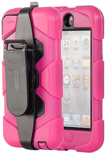iPod Touch, Extreme Protection Heavy Duty Hybrid Dual Layer Belt Clip Holster Case with Kickstand for Apple iPod Touch 6th Gen 5th Gen by Cazle (Hot Pink)