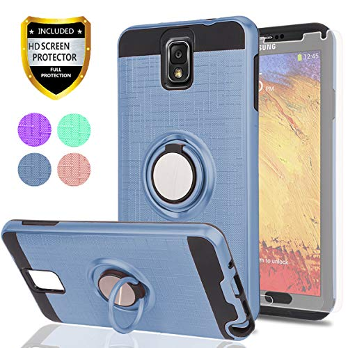 Note 3 Case,Galaxy Note 3 Case HD Phone Screen Protector,Ymhxcy 360 Degree Rotating Ring & Bracket Dual Layer Resistant Back Cover Samsung Galaxy Note 3,Note III,N9000-ZH-Metal Slate-2