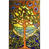 Tiffany Style Tree of Life Window Panel