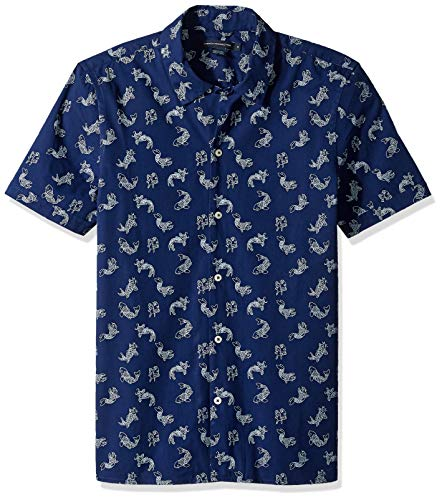 (French Connection Men's Short Sleeve Printed Regular Fit Button Down Shirt, koi Cap,)