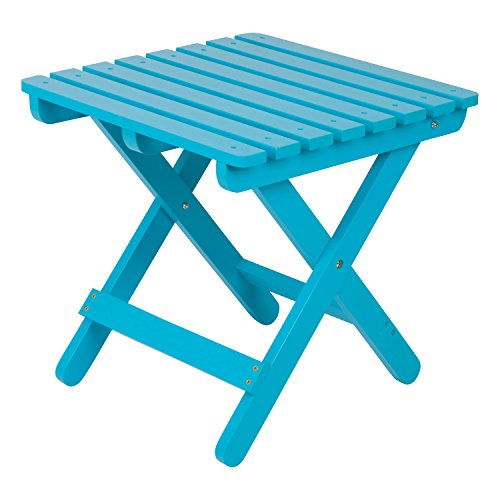 Blue End Table Adirondack (Shine Company Inc. 4109TQ Adirondack Square Folding Side Table, Turquoise)