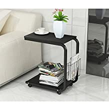Soges Table Laptop Computer Stand Desk Cart Tray Side Table for Bed Sofa Hospital Nursing Reading Eating, Black KH02-B-CA