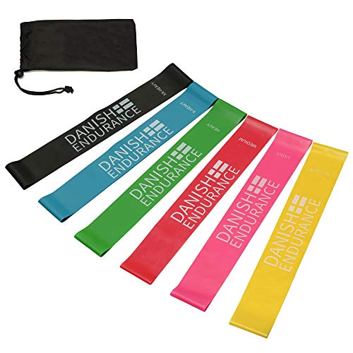 DANISH ENDURANCE Resistance Loop Exercise Bands (6 Pack)
