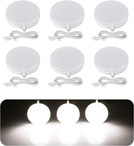Le Led Under Cabinet Lighting Fixtures Puck Lights Kit 1020 Lumens 5000k Daylight White Night Light Perfect For Kitchen Closet Stairs And More All Accessories Included Pack Of 6