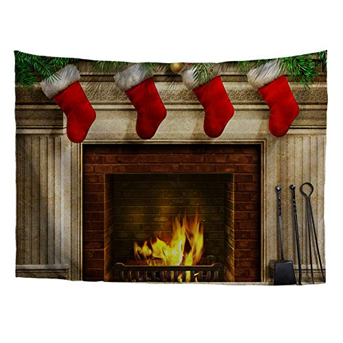 Bigcardesigns 3D Fireplace Tapestry Christmas Decoration for Livingroom Dorm Bedroom Wall Hanging Size 51