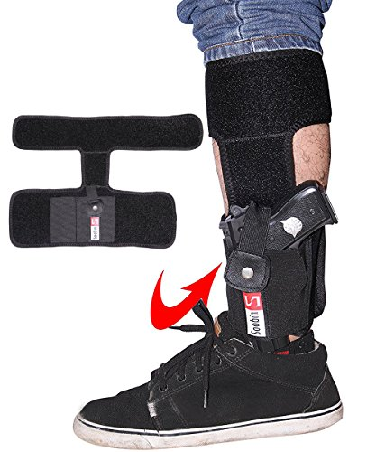 (SoobinS Ankle Holster for Concealed Carry - Neoprene Concealed Carry Leg Holster - Elastic Wrap with Magazine Pocket for Glock 26, 27, 30, 42, 43, Smith & Wesson Shield, Bodyguard .380, Sig Sauer)
