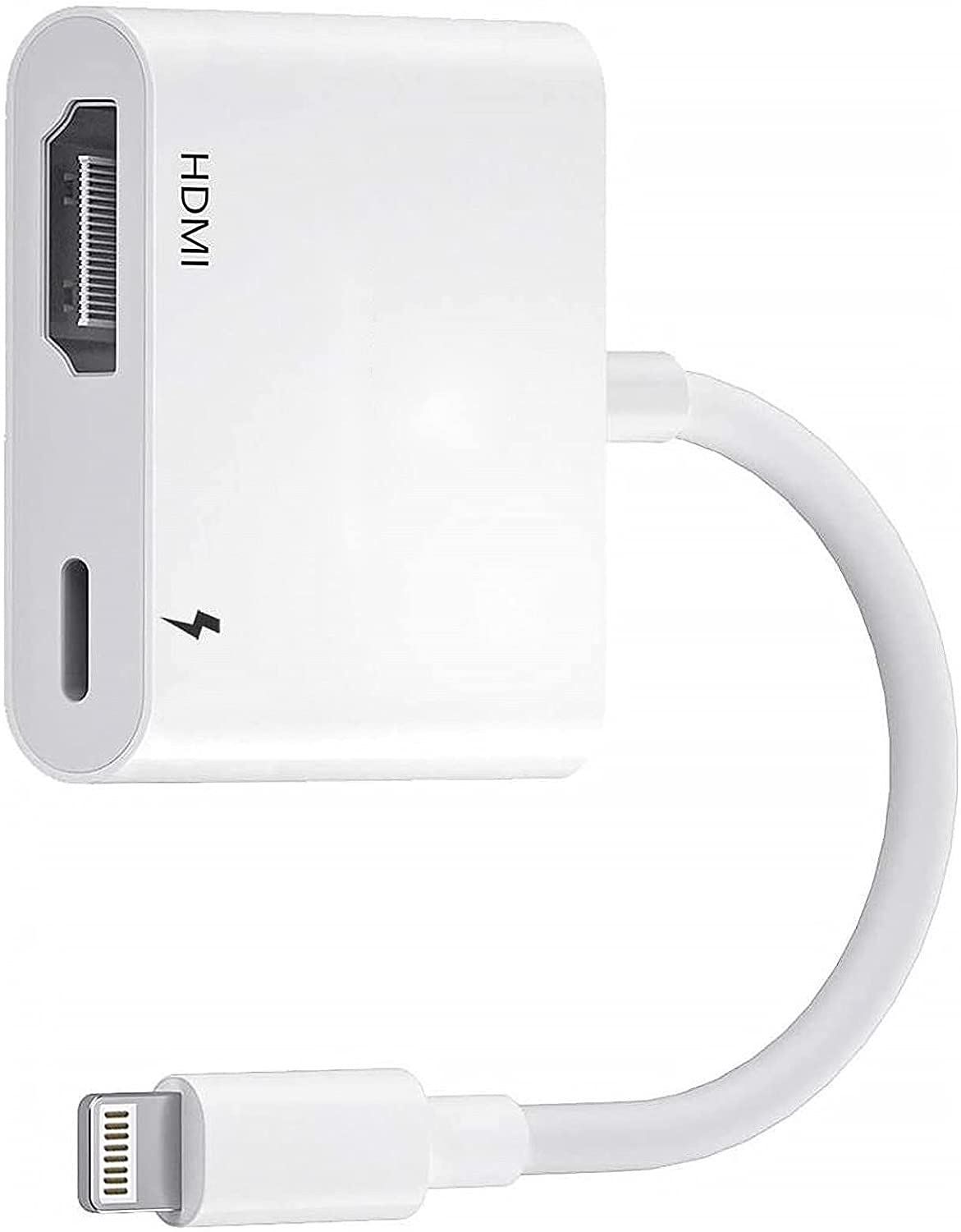 Lightning to HDMI Adapter for iPhone to TV, Apple MFi Certified 1080p Digital AV Adapter Sync Screen Connector Cable with Charging Port Compatible for iPhone iPad iPod to HD TV Projector Monitor