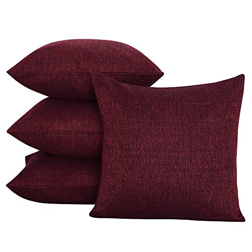 Deconovo Decorative Handmade Throw Pillow Covers Knit Faux Linen Cushion Covers Set Toss Pillow Cases for Couch 18 x 18 Inch Dark Red Set of 4 ()