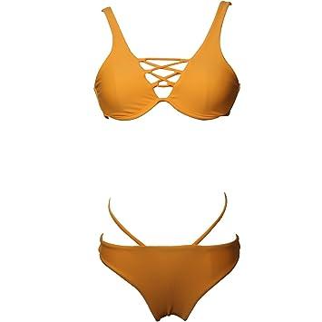 48e94977e DD Bikini para Mujer Conjuntos de baño Sexy con aro Cordón de Color Puro  Dos Piezas