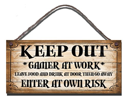 Gigglewick Gifts Wooden Funny Sign Keep Out Gamer At Work Leave Food And Drink At Door And Go Away Enter At Own Risk Shabby Chic Wall Plaque