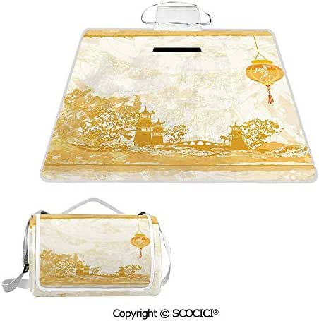SCOCICI Easy Carry Superior Material & Durable Super Soft Beach Picnic Blanket Mat Old Paper with Ancient Japanese Buildings Depicted on Asian Retro Style Samurai Decorative Premium Design Multiple U