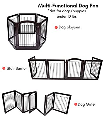 BIRDROCK HOME Indoor Dog Gate with Door – 6 Panel – 30 Inch Tall – Enclosure Kennel Pet Puppy Safety Fence Pen Playpen – Durable Wooden and Wire – Folding Z Shape Free Standing