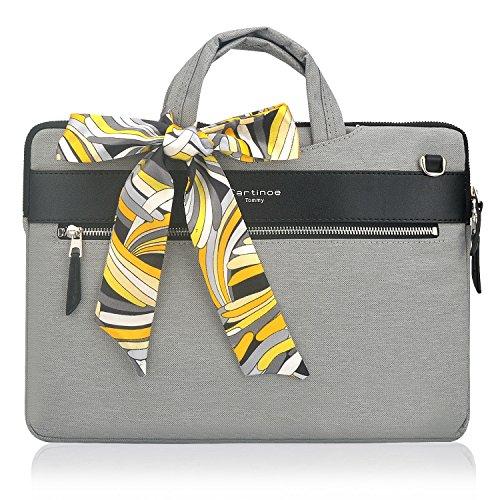Fashion Women Handbag Laptop Briefcase Business Tote Bag Nylon Casual Shoulder Messenger Bag for 12-13.3 inch Tablet Laptop Case MacBook Ultrabook for Ladies, Grey ()