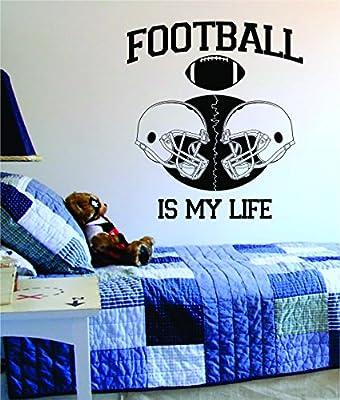 Football Is My Life Helmets Design Decal Wall Vinyl Art Sports NFL