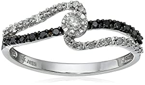 10K White Gold Black and White Diamond Promise Ring (1/4 cttw), Size 8