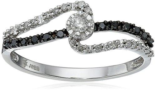 10k White Gold Black and White Diamond Promise Ring (1/4 cttw, I J Color, I3 Clarity)