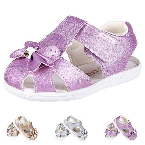 Purple Toddler Closed Toe Sandals, Little Girls Cute Bowknot with Rhinestone Non-Slip Princess Shoes 27