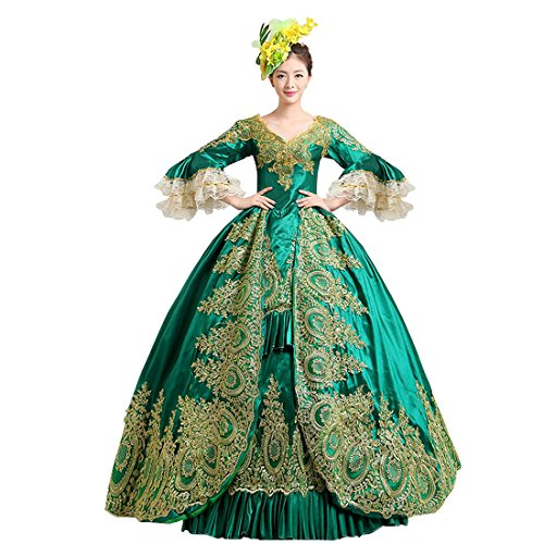 [Partiss Women's Prom Gothic Victorian Fancy Palace Masquerade Lolita Dresses, Chinese Small, Green] (Masquerade Dresses For Sale)