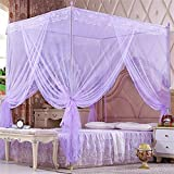 WP Student Mosquito Net 1.8m Bed Landing Princess Wind , purple , 32mm rod