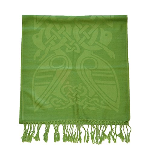 (Patrick Francis Forest Green Wool Scarf with Celtic Patterns)