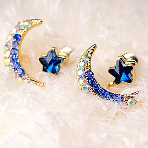 Sumanee Women Girl Yellow Gold Filled Moon Star Shape Crystal Rhinestones Stud Earrings ()