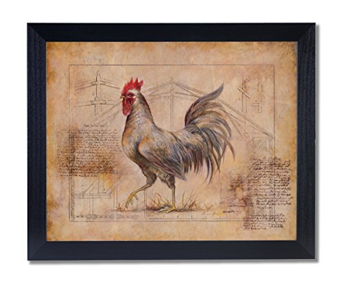 Rooster Chickenhouse Schematic Notes #2 Wall Picture Black Framed Art Print