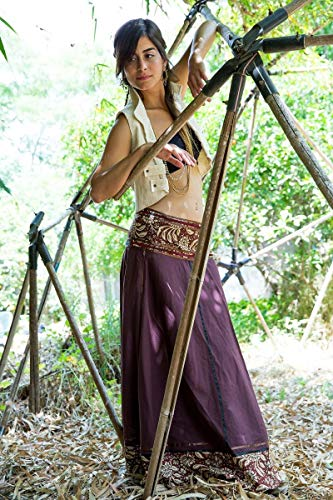 Brown Wrap Maxi Cotton Skirt with Oriental Belt, Long Gypsy Skirt for Women, Handmade Bohemian Tribal Festival Clothing
