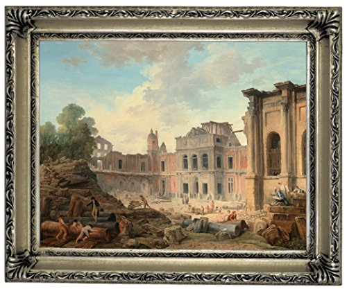 "Historic Art Gallery Demolition of The Chi1/2Teau of Meudon 1806 Framed Canvas Print 11"" x 14"" Silver"