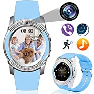 Smart Watch Phone for Women Men Kids Android iOS Waterproof Touchscreen 2-Way Call Activity Tracker Pedometer Calories Camera Sleep Monitor Music Control Sedentary Reminder Mother's Day Birthday Gifts