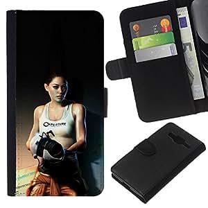 KLONGSHOP // Tirón de la caja Cartera de cuero con ranuras para tarjetas - Laboratorios de Aperture Sexy Girl - Samsung Galaxy Core Prime //