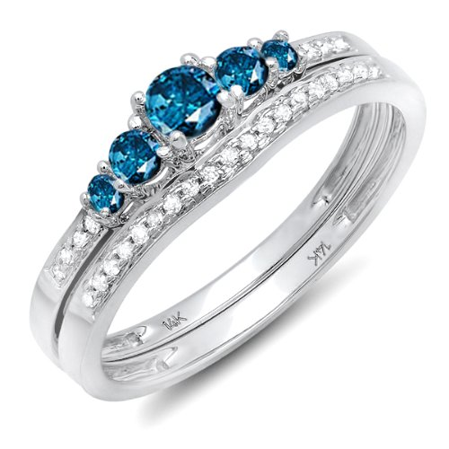 Dazzlingrock Collection 0.45 Carat (ctw) 14k Round Blue And White Diamond Ladies 5 Stone Bridal Engagement Ring Matching Band Set 1/2 CT, White Gold, Size 7 - Diamond Blue Ring Accent