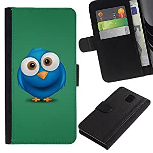 All Phone Most Case / Oferta Especial Cáscara Funda de cuero Monedero Cubierta de proteccion Caso / Wallet Case for Samsung Galaxy Note 3 III // Cute Big Eye Blue Bird