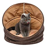Cuddle Cave Pet Bed Tent for Cats or Small Dogs, Washable Foldable Kitten House with Luxury Shag Faux Fur Mattress & Toy Ball – Brown (18inch) For Sale