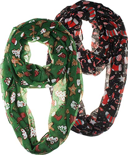 VIVIAN & VINCENT 2 Pack of Soft Light Weight Elegant Sheer Infinity Scarf (Gift Idea) Christmas Green & Black Candy Cane -