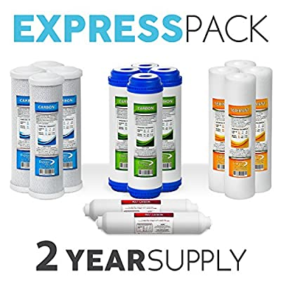 Express Water Reverse Osmosis and Under Sink System Replacement Filter Set – 14 Filters with Carbon (GAC, ACB, PAC) Filters, Sediment (SED) Filters – 10 inch Standard Size Water Filters