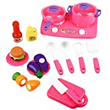 Frozen Kitchen Play Set Peradix Pretend Play Kitchen Toys Cookware Cutting Food Set with Hand Carry Bag