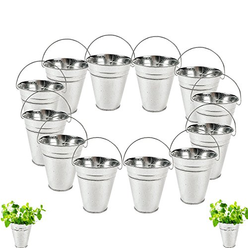 dazzling toys Large Galvanized Buckets (1 Dozen) Great Buckets for Planters or Unique Goody -
