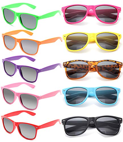 Wholesale Unisex 80'S Retro Neon Party Favor Sunglasses Bulk for Adults 10 -