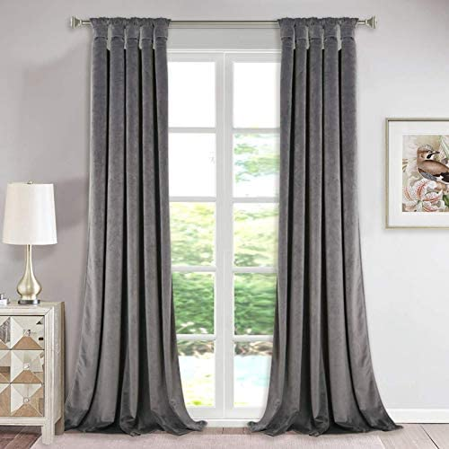 Extra Long Velvet Curtains Pair