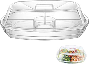 Geesta Appetizer Serving Tray, Multi-tone Bowl with Reversible Lid Caps | 2 Layers + 2 Mixing Spoons