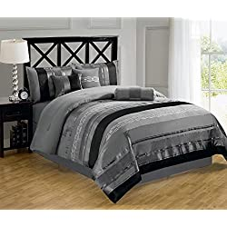 Chezmoi Collection 7-piece 3-tone Black Gray Chenille Embroidery Comforter Bedding Set (Queen)