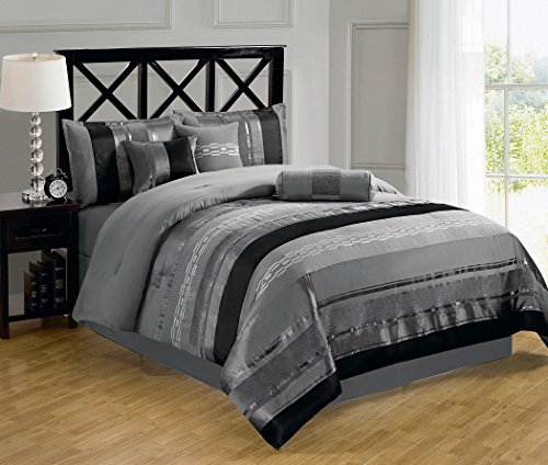 Chezmoi Collection 7-piece 3-tone Black Gray Chenille Embroidery Comforter Bedding Set (Queen) (Black And Grey Comforter)