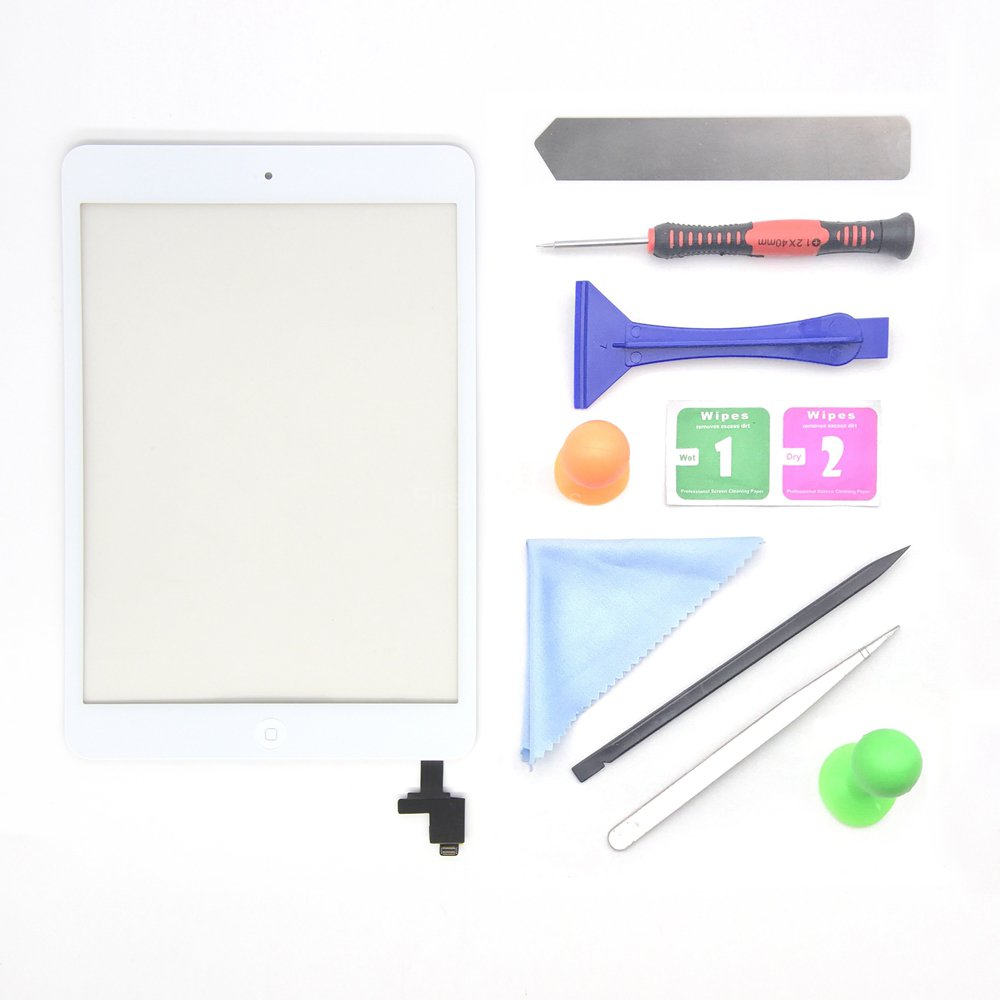 White iPad Mini 1 or 2 Touch Screen Digitizer Complete Assembly with IC Chip & Home Button replacement with tool kit Chips