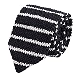 Men Black White Knit Neck Ties Narrow Stripe Neckties Accessory Gift for Husband