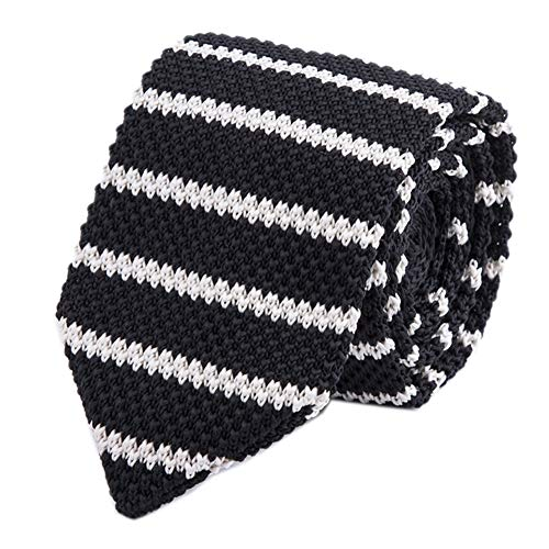 (Men Black White Knit Neck Ties Narrow Stripe Neckties Accessory Gift for Husband)